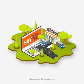 Isometrische computer achtergrond en e-commerce elementen