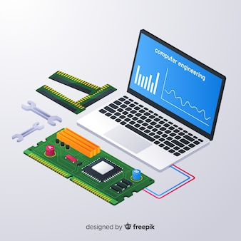 Isometrische computer engineering achtergrond
