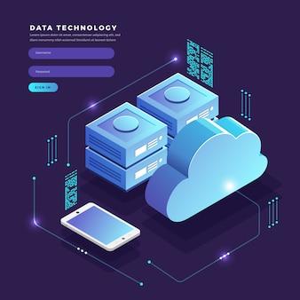 Isometrische concept cloud technologie gegevensoverdracht en opslag. verbindende informatie. illustraties.