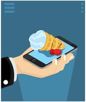 Isometrische concept van het bestellen van voedsel