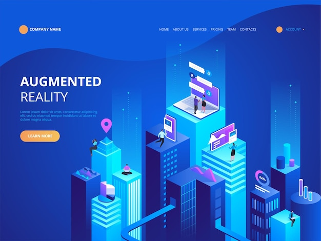 Isometrische concept virtual reality en augmented reality ar en vr development. digitale mediatechnologie voor website en mobiele app. software ontwikkeling en programmeren. berekening van big datacenter