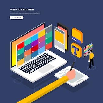 Isometrische concept web er. illustratie. ontwerp van de website-indeling.