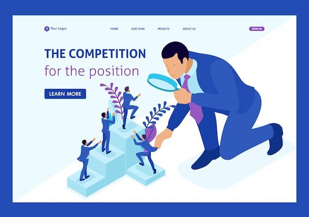 Isometrische concurrentiestrijd voor carrièregroei, zakenman kijkt naar kandidaten door een vergrootglas. landingspagina van websitesjabloon
