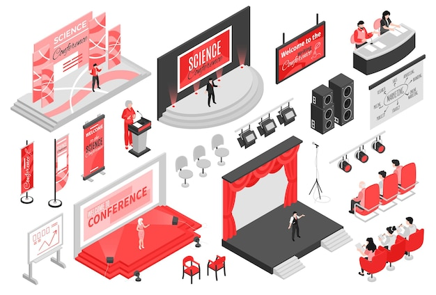 Isometrische conferentiezaal instellen afbeelding