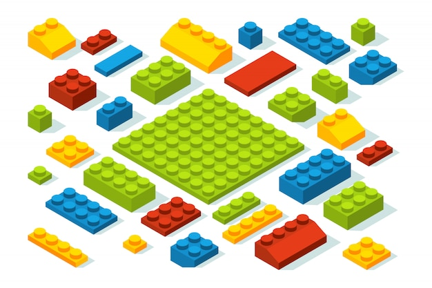 Isometrische constructorblokken op verschillende kleuren