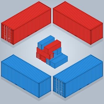 Isometrische containerlevering. een vectorillustratie van industriële vrachtkratten isometrische industriële kratten.