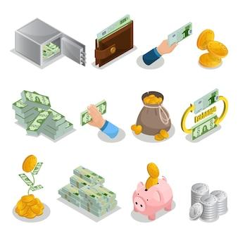 Isometrische contant geld pictogrammen instellen met bank veilige portemonnee valuta zak met gouden munten geldboom spaarvarken bitcoins geïsoleerd