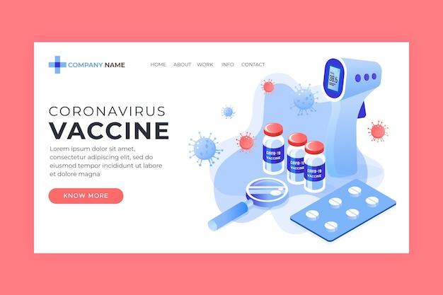 Isometrische coronavirusvaccin websjabloon geïllustreerd