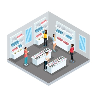 Isometrische cosmetische winkel sjabloon