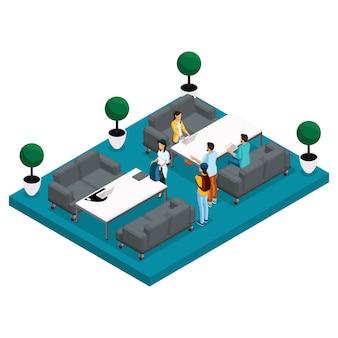 Isometrische coworking center illustratie