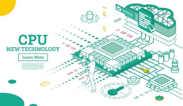 Isometrische cpu. computer technologie. big data-verwerking. gegevensoverdracht en -verwerking. cloud-technologie.