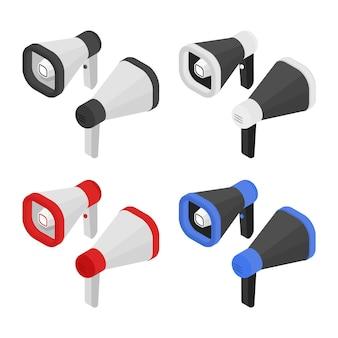 Isometrische creatieve megafoonset luidsprekers in 3d-weergave luidspreker geïsoleerd vijand van uw ontwerp