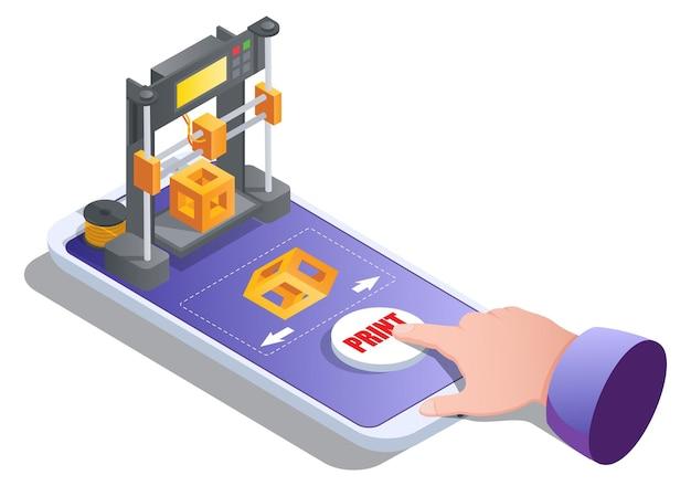 Isometrische d-printerbouwkubus op mobiele zeefdrukservice voor on-demand productieve ...