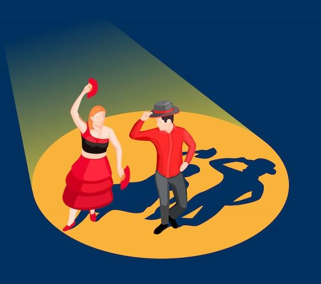 Isometrische dansende mensen illustratie