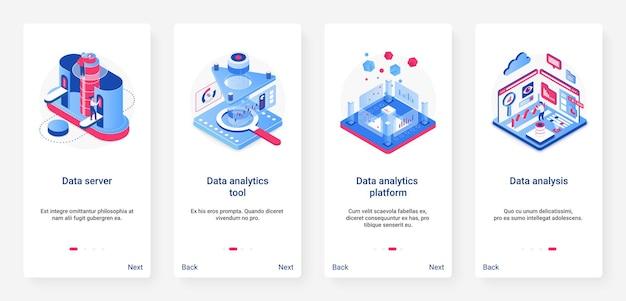 Isometrische data-analyse analyse digitale technologie ux ui mobiele app paginascherm ingesteld