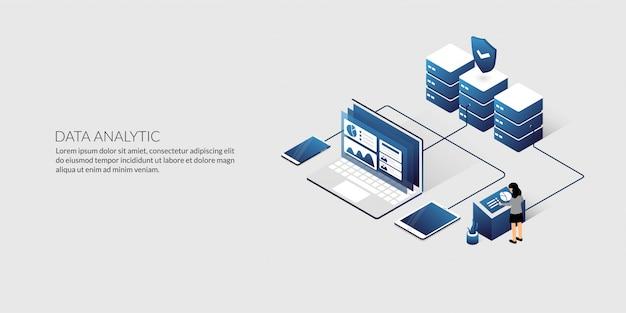 Isometrische data-analyse en beveiliging datacenter concept