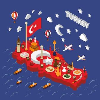 Isometrische de kaartaffiche van turkije toeristische aantrekkelijkheden
