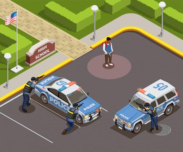 Isometrische de mensensamenstelling van de middelbare school van openluchtpolitiecordon met auto's bewapende politieagenten en moordenaarsschooljongen