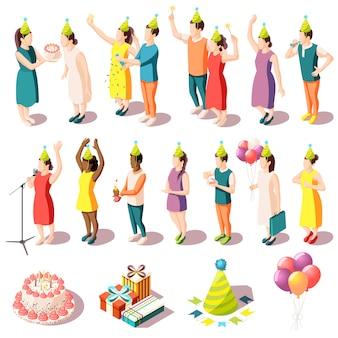 Isometrische de pictogrammenreeks van de verjaardagspartij mensen binnen in feestelijke kostuums en partijlevering geïsoleerde illustratie