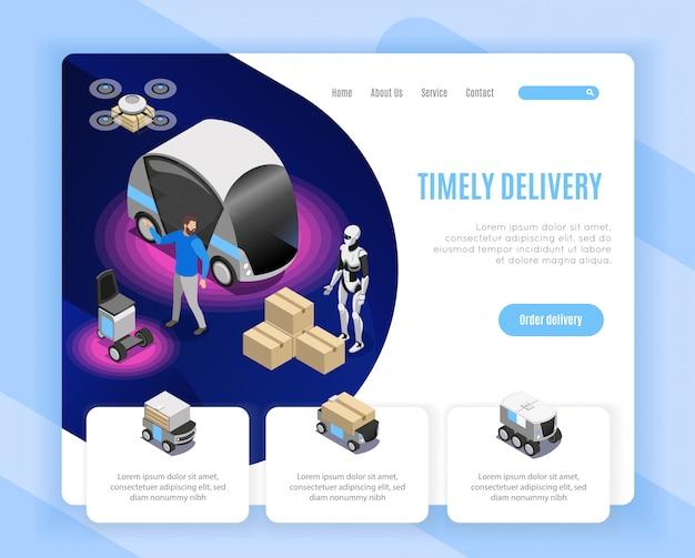 Isometrische de webpaginaontwerp van de de leveringsdienst van de robotlevering ontwerp met illustratie van het drone landende humanoid ladende goederen