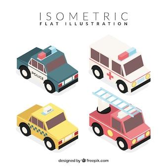 Isometrische decoratieve voertuigen