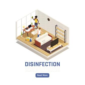 Isometrische desinfectie banner