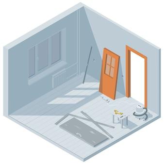 Isometrische deurinstallatie