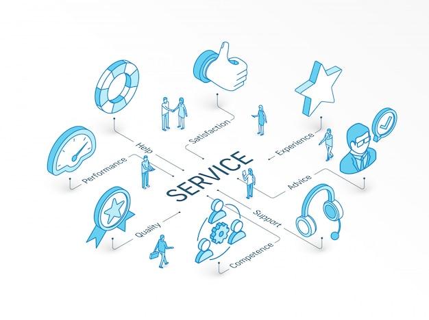 Isometrische dienstverleningsconcept. geïntegreerd infographic systeem. mensen teamwerk. ondersteuning, ervaring, advies en help-symbool. prestaties, kwaliteit, competentie, tevredenheidspictogram