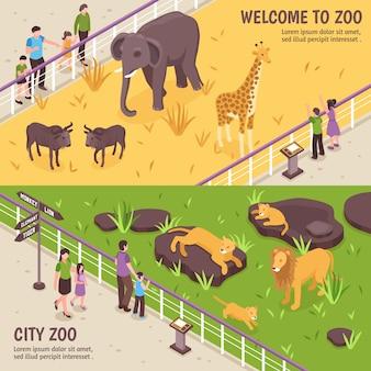 Isometrische dierentuin horizontale banners