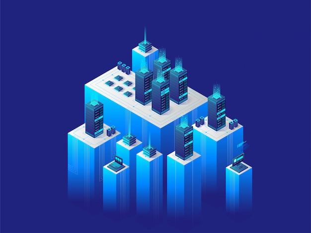 Isometrische digitale technologie concept. datacenter.
