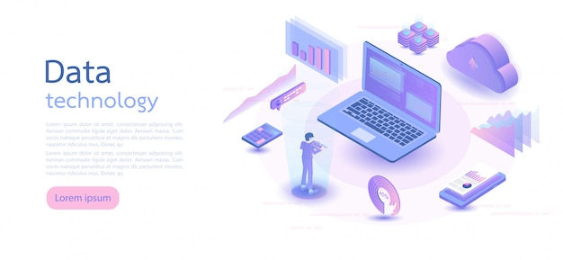 Isometrische digitale technologie. isometrische vectorillustratie.