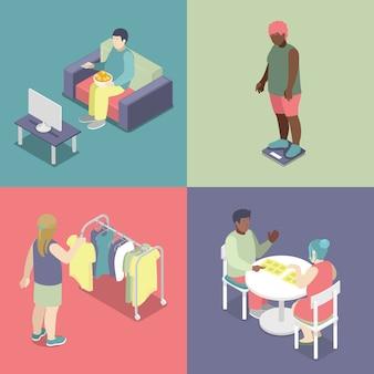 Isometrische dikke mensen instellen. ongezond eten concept. vector 3d platte illustratie