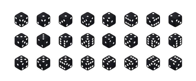 Isometrische dobbelstenen. varianten zwarte spelblokjes geïsoleerd op een witte achtergrond. alle mogelijke beurten verzamelen.