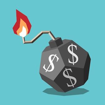 Isometrische dollarbom met vlam op brandende zekering financiële crisis handelsoorlog concept platte ontwerp