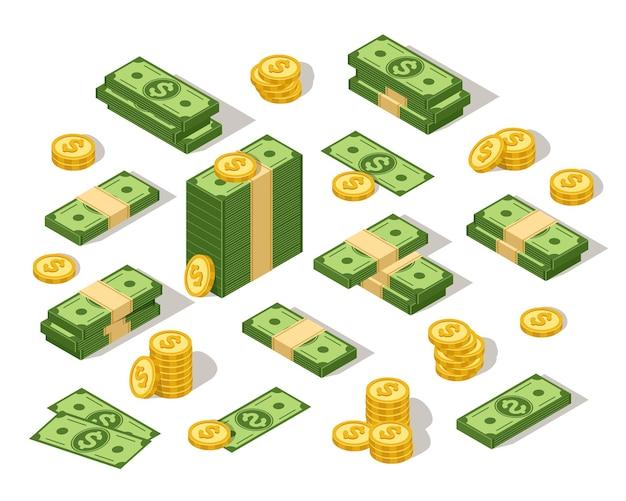 Isometrische dollars 3d geld contant geld cartoon groen papier bankbiljet en gouden munten set