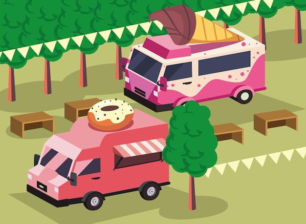Isometrische donuts en ijscowagen