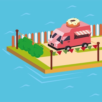Isometrische donuts food truck bij dok