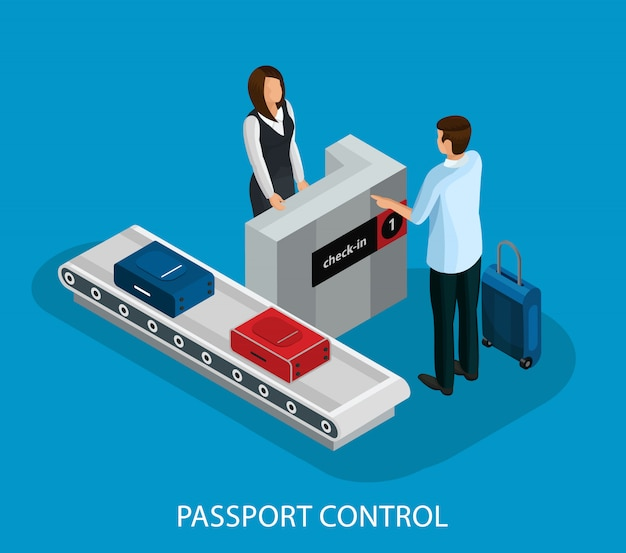 Isometrische douanecontrole in luchthavenconcept