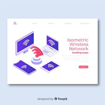 Isometrische draadloze netwerk-bestemmingspagina