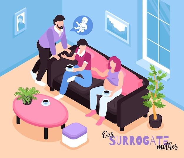 Isometrische draagmoederschap illustratie