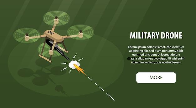 Isometrische drone horizontale banner met bewerkbare tekst meer knop en afbeelding van vliegende quadcopter met pistool illustratie