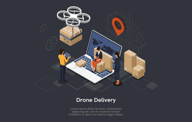 Isometrische drone snelle levering van goederen met stadsplattegrond. technologisch innovatieconcept voor verzending. werknemers controleren de levering. autonome logistiek. vlakke stijl
