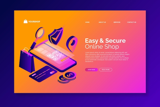 Isometrische e-commerce - bestemmingspagina's
