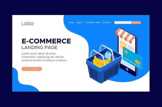 Isometrische e-commerce bestemmingspagina's