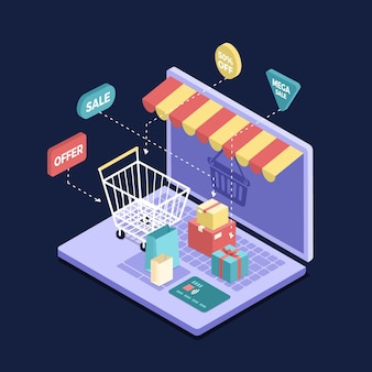 Isometrische e-commerce concept