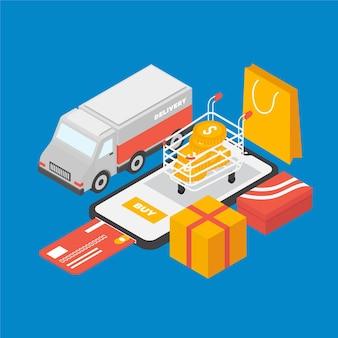 Isometrische e-commerce - concept