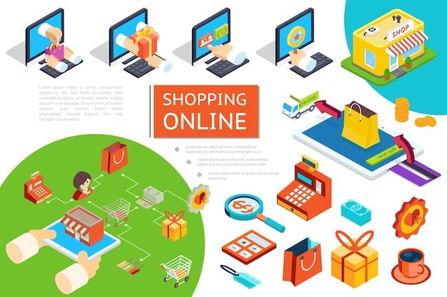 Isometrische e-commerce-samenstelling