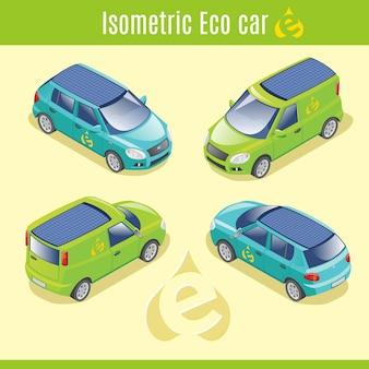 Isometrische eco elektrische auto's collectie