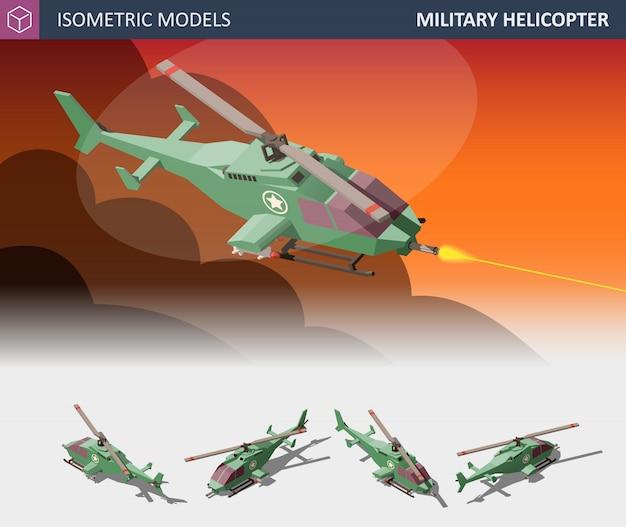 Isometrische eenmotorige aanvalshelikopter set. militair luchtvervoer.