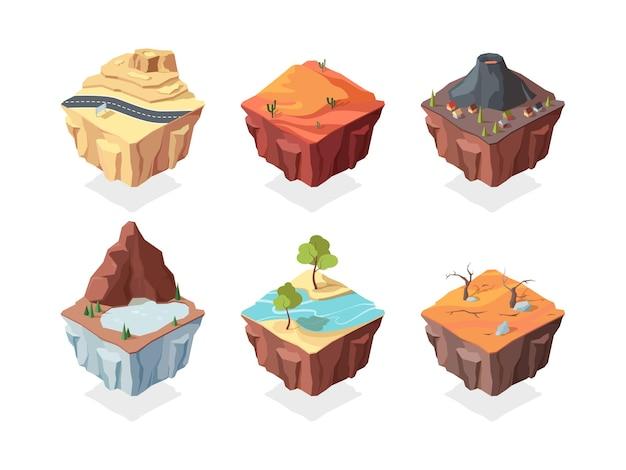 Isometrische eilandspel landschappen ingesteld. rode woestijn met cactussen vulkaan met dorpshuis bergmeer en planten rivier met bomen aan kant van weg snelweg op rotsachtig terrein.
